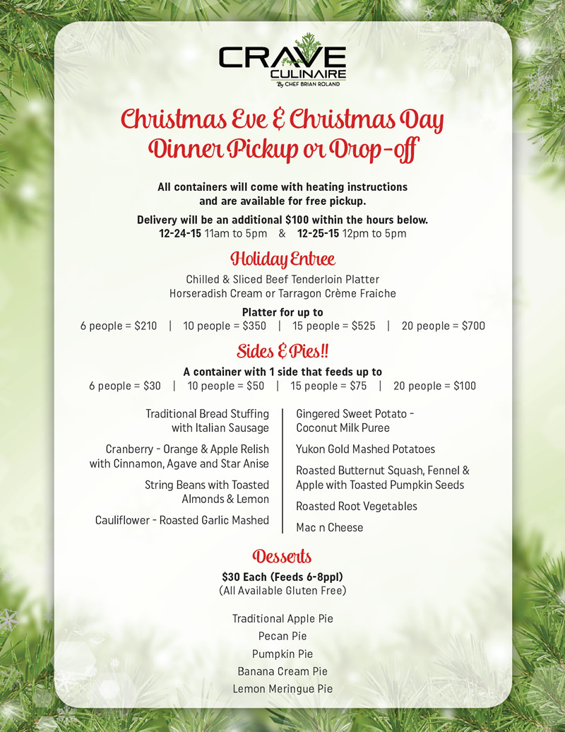 December 2015 holiday menu